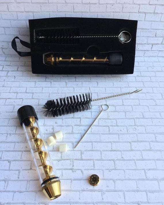 Twisty Glass Pipe Includes Rubber Cap Glitter Gold Spiral Design