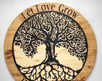 Wood Engraved Custom Tree of Life Sign