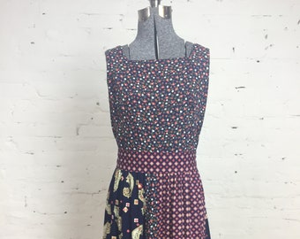 8608dc69f796 Vintage 1960 s High Neck Floral Ditzy Paisley Patchwork Dress