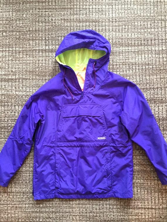 Vintage 1990's Columbia Neon Anorak Rain Jacket-Si