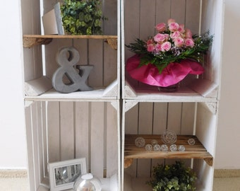 """4 pcs combined white fruit crates/wooden crates """"shabby chic"""""""