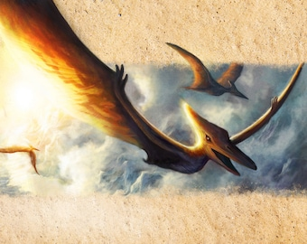Pterodactyl Flying, A3 Signed Print