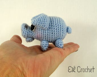Small Crochet Amigurumi Blue Pig