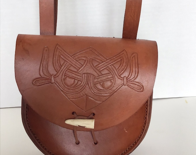 Ready to Ship- Viking style Hand sewn leather belt pouch