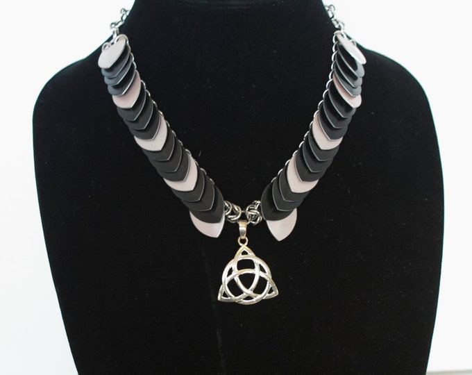 Dragon scale necklace with Triquetra center pendent - ready to go