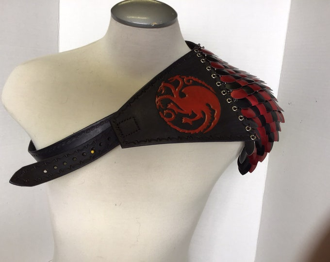 Game of Thrones Inspired: Leather and Dragon Scale Shoulder Piece
