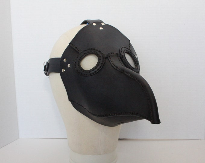 Large Plague Doctor Mask:  6oz leather and 2mm acrylic lenses