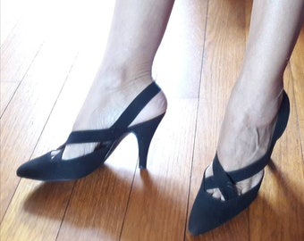 56ccfcef888 Slingback suede stiletto pump vintage made in italy 80s sexy pointed toe  50s style cocktail outfit shoes comfortable heel 37 Italian size