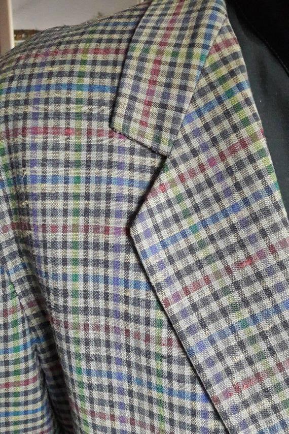 Vintage Made in Italie des années 90 Enrico Coveri unique poitrine deux botton check veste d'été sans doublure dos 2 fente laine soie TBE