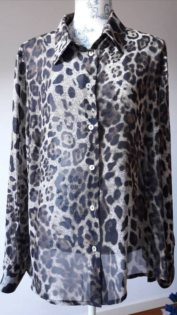 4cc0f266c98b SALE Animal print leopard made in Italy 90s blouse shirt