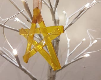 Handmade Christmas Decoration -  Christmas Ornament- Fused Glass - Star