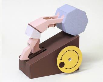 moving paper craft the stone of sisyphus automata printable pdf instant download diy