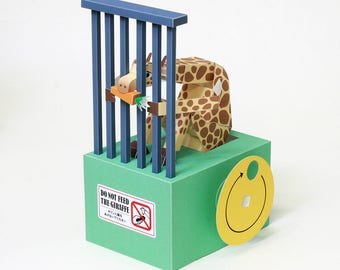 Moving Paper Craft — Do Not Feed The Giraffe, automata, Printable PDF, Instant download, DIY