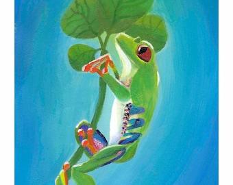 Red Eye Tree Frog, Acrylic Digital Print 8x10