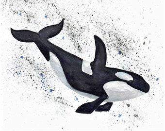 Orca, Watercolor Digital Print 8x10
