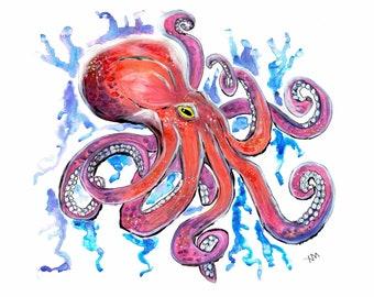Octopus, Watercolor Digital Print 8x10