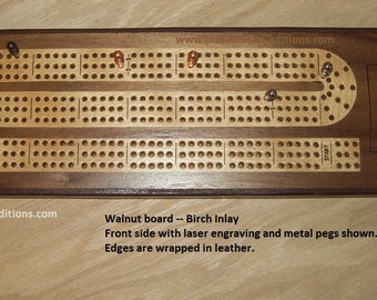 Cribbage Board - Wood Inlay - Custom by JMH Limited Editions