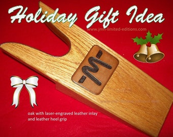 Oak Boot Jack  (Inlaid) - Bootjack / Shoe Remover - Solid Hardwood - Custom by JMH Limited Editions