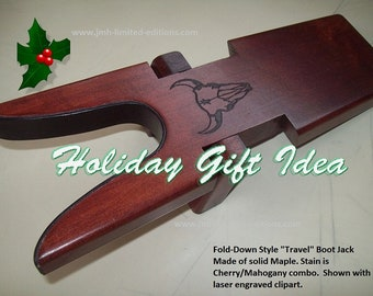 Folding Bootjack - Travel Style -  Solid Hardwood Boot Jack Shoe Remover - Custom by JMH Limited Editions