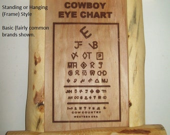 Cowboy Eye Chart - Standing Framed Style - Custom by JMH Limited Editions
