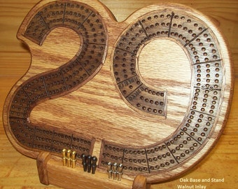 """Cribbage """"29"""" Board - Inlaid Contrasting Wood - Custom by JMH Limited Editions"""