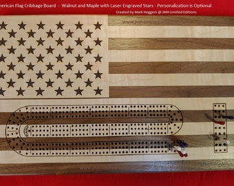Cribbage Board - American Flag - Custom by JMH Limited Editions