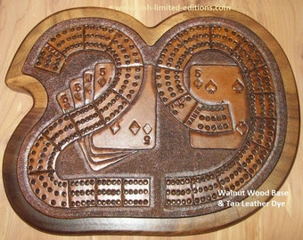 """Cribbage """"29"""" Board - Tooled Leather on Wood - Custom by JMH Limited Editions"""