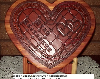"""Cribbage Board - """"SweetHeart"""" - Tooled Leather on Wood- Custom by JMH Limited Editions"""