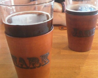 Beer Time! Cozy Leather Wrap for Pint Glass - snap closure - Custom by JMH Limited Editions