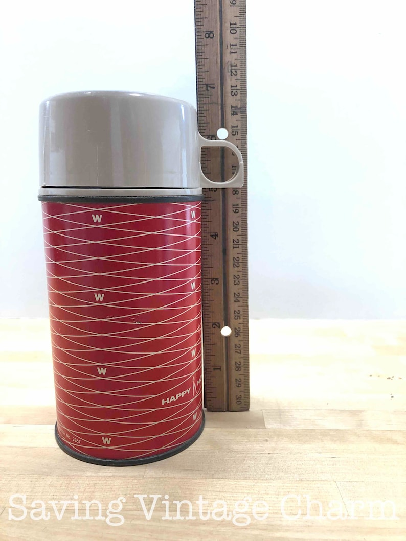 Vintage Red Happy Home Thermos