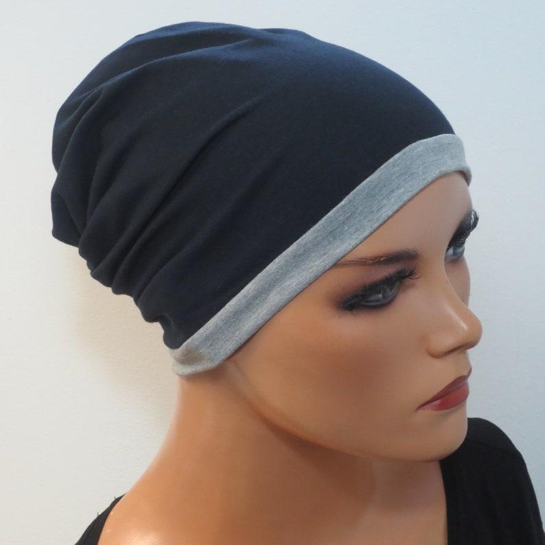 WENDEBEANIE MÜTZE   2in1 beidseitig tragbar dunkelblau grau Chemo Mütze