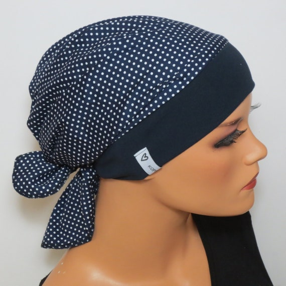 Scarf Cap Dark Blue Spotted Ideal Headgear For Chemotherapy Etsy