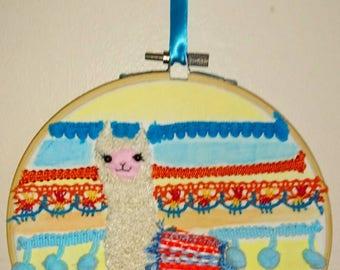 Cute one of a kind Alpaca embroidery hoop art