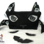 Vampire Bat Large Makeup Bag / Small Black Bag Cosmetic Storage for Gothic Lolita