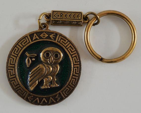 Owl Of Wisdom Keychain Symbol Of Goddess Athena