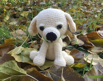 Knitted dog Crochet white dog Amigurumi puppy Stuffed animals Handmade toy dog Cute dog Plush dog Soft dog Stuffed pet, Baby shower gift