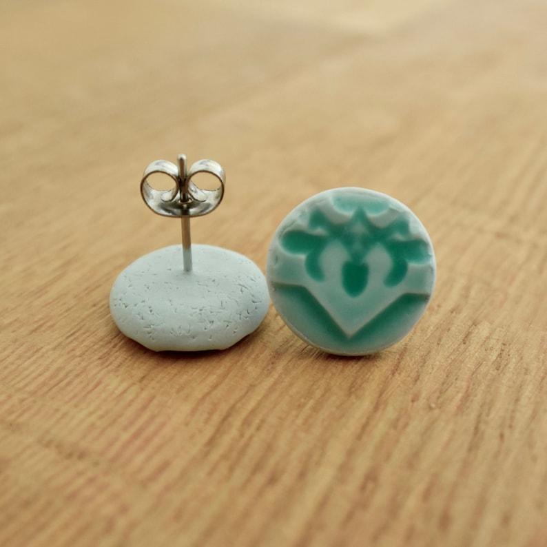 Colourful Earrings Schmuck Oriental Pattern Ohrstecker Small Polymer Clay Stud Earrings Boucles d/'oreilles 12mm Mint Green
