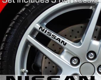 NISSAN rim Stickers Decals NISMO Door handle Mirror Wheels set of 5 decals