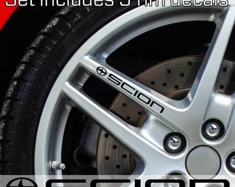 SCION rim Stickers Decals TOYOTA Door handle Mirror Wheels set of 5 decals