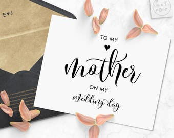to my mother on my wedding day card gifts for mom mother of the bride gift for mom mother of the groom mom from daughter printable card