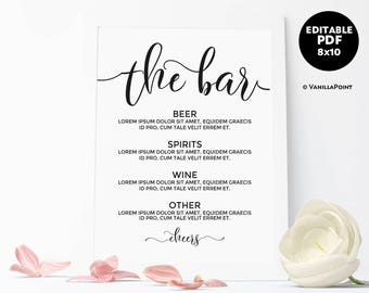 Editable Wedding Bar Menu Sign Greenery Wedding Bar Sign With - Free printable drink menu template