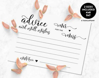 Advice And Well Wishes For The Mr And Mrs Wedding Advice Cards Download Marriage Advice Cards Printable Wedding Advice And Well Wishes Cards