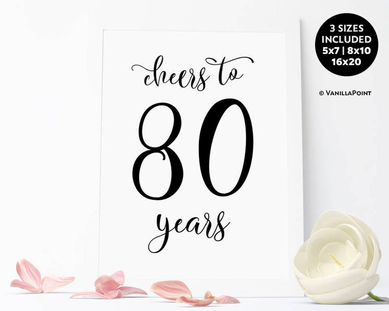 Cheers To 80 Years Sign 80th Birthday Decoration For Men