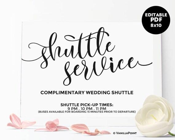 shuttle service sign wedding shuttle sign printable wedding etsy