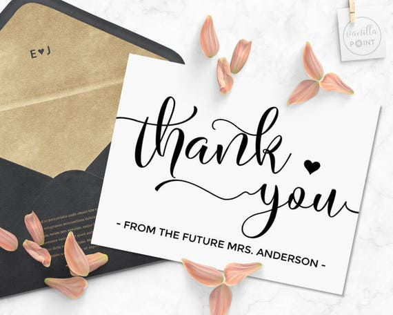 Bridal Shower Thank You Cards Printable Thank You From The Etsy
