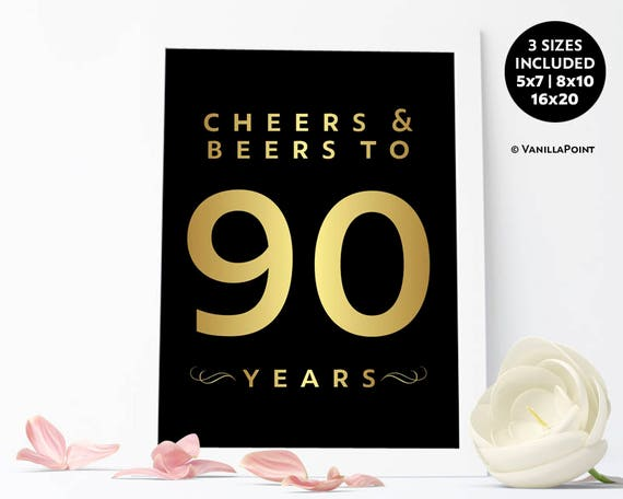 Cheers And Beers To 90 Years 90th Birthday Decoration