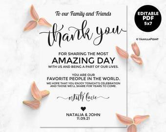 Thank You Cards, Wedding Thank You Cards Printable, Wedding Table Decor, Wedding Place Settings Wedding Thank You Card Template Editable PDF