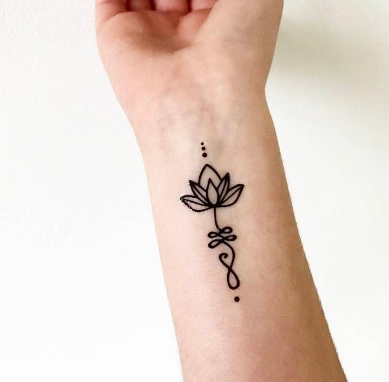 Unalome Lotus Temporary Tattoo Etsy