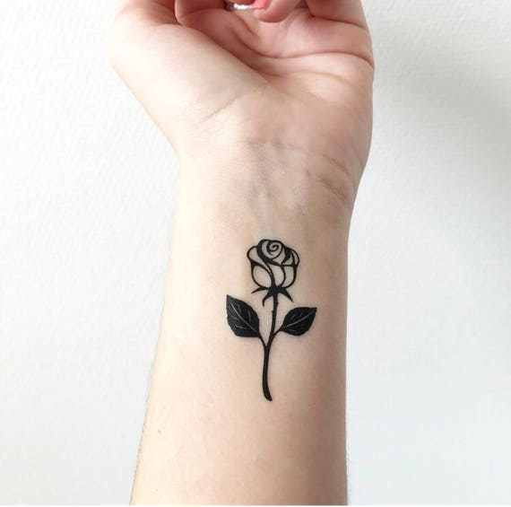 Rose With Stem Temporary Tattoo Etsy