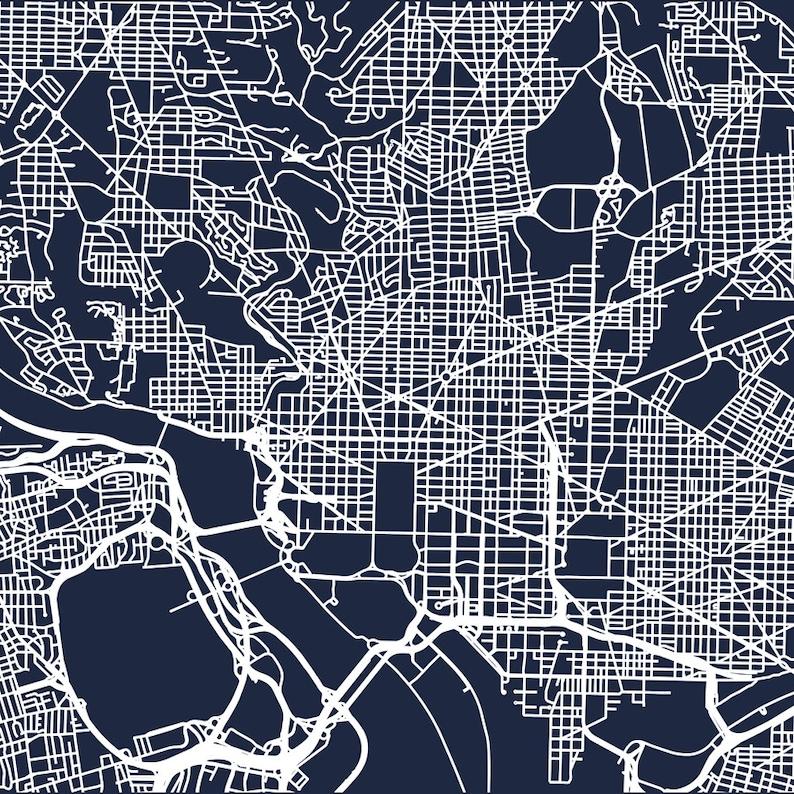 Washington Dc Map Download.Minimalist Map Of Washington Dc Roads Digital Download Etsy
